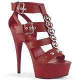 Czerwone Skóra Ekologiczna 15 cm DELIGHT-658 pleaser buty na wysokie obcasy