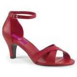 Czerwone Skóra Ekologiczna 7,5 cm DIVINE-435 duże rozmiary sandały damskie