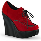 Czerwone Skóra Ekologiczna CREEPER-302 platformy creepersy buty kliny