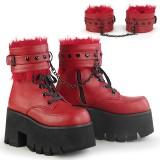 Czerwone Vegan 9 cm ASHES-57 Gotyckie Platformie botki na grubym obcasie