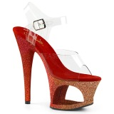 Czerwone brokatem 18 cm Pleaser MOON-708OMBRE buty do tańca pole dance