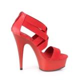 Czerwone elastyczna opaska 15 cm DELIGHT-669 obuwie pleaser dla damskie