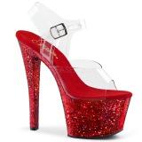 Czerwone glitter 18 cm Pleaser SKY-308LG buty do tańca pole dance