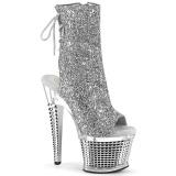 Glitter 18 cm SPECTATOR-1018G platformy botki na obcasie peep toe srebrny