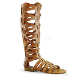 Krem ATHENA-200 sandały gladiatorki do kolan damskie