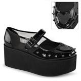 Lakierowane 7 cm GRIP-01 buty gotyckie damskie na platformy