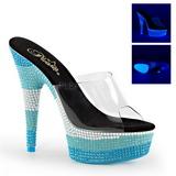 Niebieski 15 cm DELIGHT-601UVS Neon Platformie Klapki Damskie