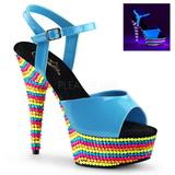 Niebieski Lak 15 cm DELIGHT-609RBS Sandały na wysokim obcasie Neon