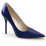 Niebieski Lakierowane 10 cm CLASSIQUE-20 Szpilki Damskie Stiletto Obcasy