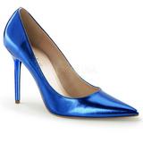 Niebieski Metaliczny 10 cm CLASSIQUE-20 Szpilki Damskie Stiletto Obcasy