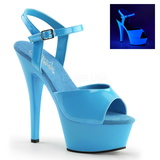 Niebieski Neon 15 cm Pleaser KISS-209UV Wysokie obcasy platformie
