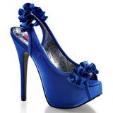 Niebieski Satyna 14,5 cm TEEZE-56 Sandały na wysokim obcasie