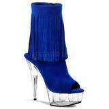 Niebieski Zamsz 15 cm DELIGHT-1019 botki z fredzlami na wysokim obcasie