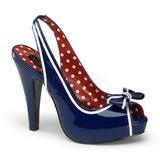 Niebieskie 11,5 cm retro vintage BETTIE-05 buty damskie na wysokim obcasie