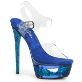 Niebieskie 16,5 cm ECLIPSE-608GT Sandały na cienkim obcasie