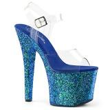 Niebieskie 18 cm RADIANT-708LG blasku buty na wysokich obcasach