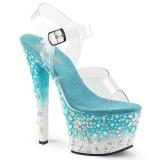 Niebieskie 18 cm SKY-308FISH platformy buty na wysokiej z kryształkami