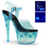 Niebieskie 18 cm SKY-308UVMG Neon Sandały na wysokim obcasie