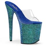 Niebieskie 20 cm FLAMINGO-801LG Glitter Platformie Klapki Damskie