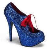 Niebieskie Glitter 14,5 cm Burlesque TEEZE-10G Platformie Szpilki Buty