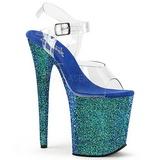Niebieskie Glitter 20 cm FLAMINGO-808LG Sandały na wysokim obcasie
