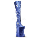 Niebieskie Glitter 34 cm VIVACIOUS-3016 Kozaki za Kolano dla Drag Queen