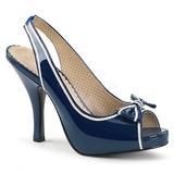 Niebieskie Lakierowane 11,5 cm PINUP-10 duże rozmiary sandały damskie