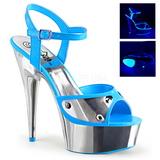 Niebieskie Neon 15 cm DELIGHT-609NC Sandały na wysokim obcasie Chrom