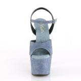 Niebieskie Skóra Ekologiczna 18 cm ADORE-709WR sandały na obcasie