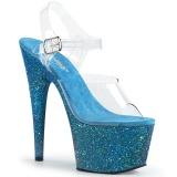Niebieskie brokatem 18 cm Pleaser ADORE-708LG buty do tańca pole dance