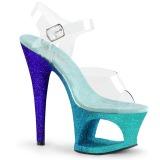 Niebieskie brokatem 18 cm Pleaser MOON-708OMBRE buty do tańca pole dance