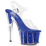 Niebieskie glitter 18 cm Pleaser ADORE-708G buty do tańca pole dance