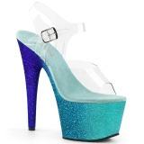Niebieskie glitter 18 cm Pleaser ADORE-708OMBRE buty do tańca pole dance