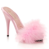 Pink 13 cm POISE-501F pióra marabuta Klapki