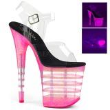 Pink 20 cm FLAMINGO-808UVLN Sandały na wysokim obcasie Neon