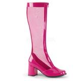 Pink 8,5 cm GOGO-307 kozaki siatka damskie na wysokim obcasie