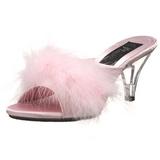 Pink 8 cm BELLE-301F pióra marabuta Klapki