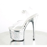 Przeźroczyste 18 cm ESTEEM-708CHLG platformie sandały do tańca pole dance srebrny