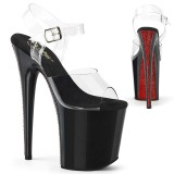 Przeźroczyste 20 cm FLAMINGO-808CRS-2 pleaser sandały z czerwoną kryształkami podeszwą