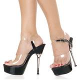 Przeźroczyste Czarne 14 cm ALLURE-608 High Heels Platformie Buty