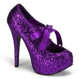 Purpurowy Glitter 14,5 cm Burlesque TEEZE-10G Platformie Szpilki Buty