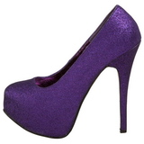 Purpurowy Glitter 14,5 cm Burlesque TEEZE-31G Platformie Szpilki Buty