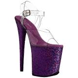 Purpurowy Glitter 20 cm FLAMINGO-808LG Sandały na wysokim obcasie