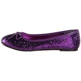 Purpurowy STAR-16G Glitter Płaskie Baleriny Buty Damskie