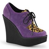 Purpurowy Skóra Ekologiczna CREEPER-304 platformy creepersy buty kliny