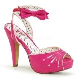 Różowe 11,5 cm Pinup BETTIE-01 sandały na obcasie