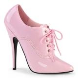 Różowe 15 cm DOMINA-460 oxford buty na obcasie