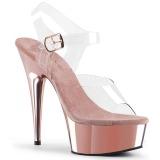 Różowe 15 cm Pleaser DELIGHT-608 Wysokie Obcasy Chrom Platformie