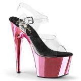 Różowe 18 cm KISS-209 Chrom wysokie obcasy na platformie
