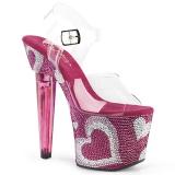 Różowe 18 cm LOVESICK-708HEART buty damskie na Błyszczącymi Kamieniami